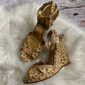 Kate Spade Patent Leather Strappy Leopard Wedges